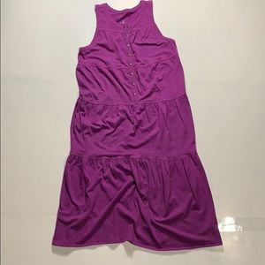 Athleta Purple Tiered Midi Dress Size S